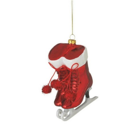 """Ganz 4.75"""" Glittered Ice Skates with Pom Poms Christmas Ornament - Chic Red/White - image 1 of 1"""