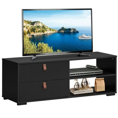Costway TV Stand Entertainment Media Center Console for TV's up to 55'' Walnut/Black