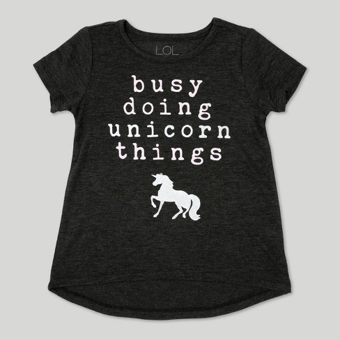 Toddler Girls' L.O.L. Vintage Short Sleeve T-Shirt Unicorn Things - Charcoal Heather - image 1 of 2