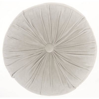 """16"""" Mina Victory Life Styles Round Ruched Velvet Throw Pillow Light Gray - Nourison"""