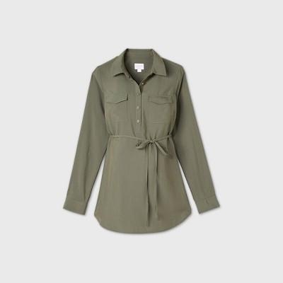 Maternity Long Sleeve Utility Shirt - Isabel Maternity by Ingrid & Isabel™ Olive Green S