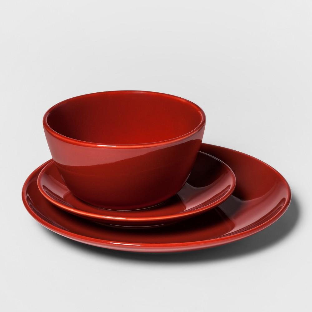 Image of 12pc Avesta Stoneware Dinnerware Set Red - Project 62 , Orange