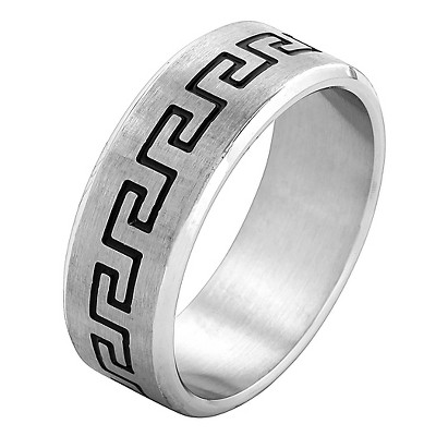 Men's West Coast Jewelry Stainless Steel Laser Etched Greek Key Band Ring