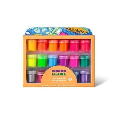 18ct Washable Tempera Paints Neon - Mondo Llama™