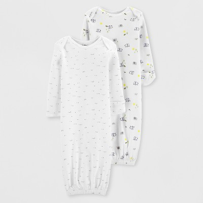 Little Planet Organic by carter's Baby Girls' 2pk Nightgowns - White 3M