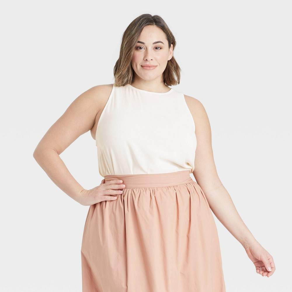 Women 39 S Plus Size Racer Back Tank Top A New Day 8482 Cream 4x
