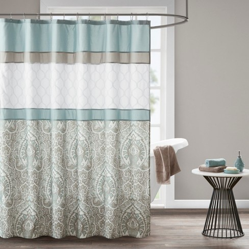 Stacie Printed Embroidered Shower Curtain Blue Target