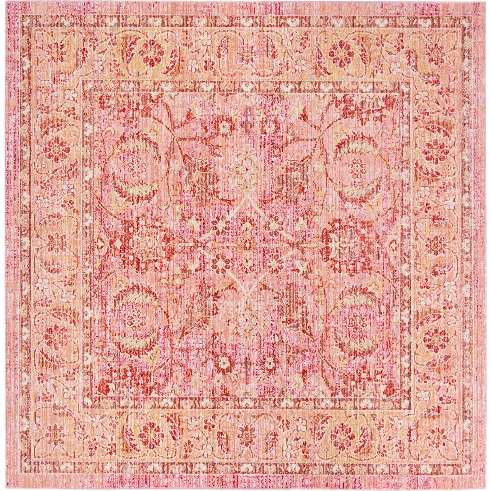 6'X6' Floral Loomed Square Area Rug Pink/Orange - Safavieh