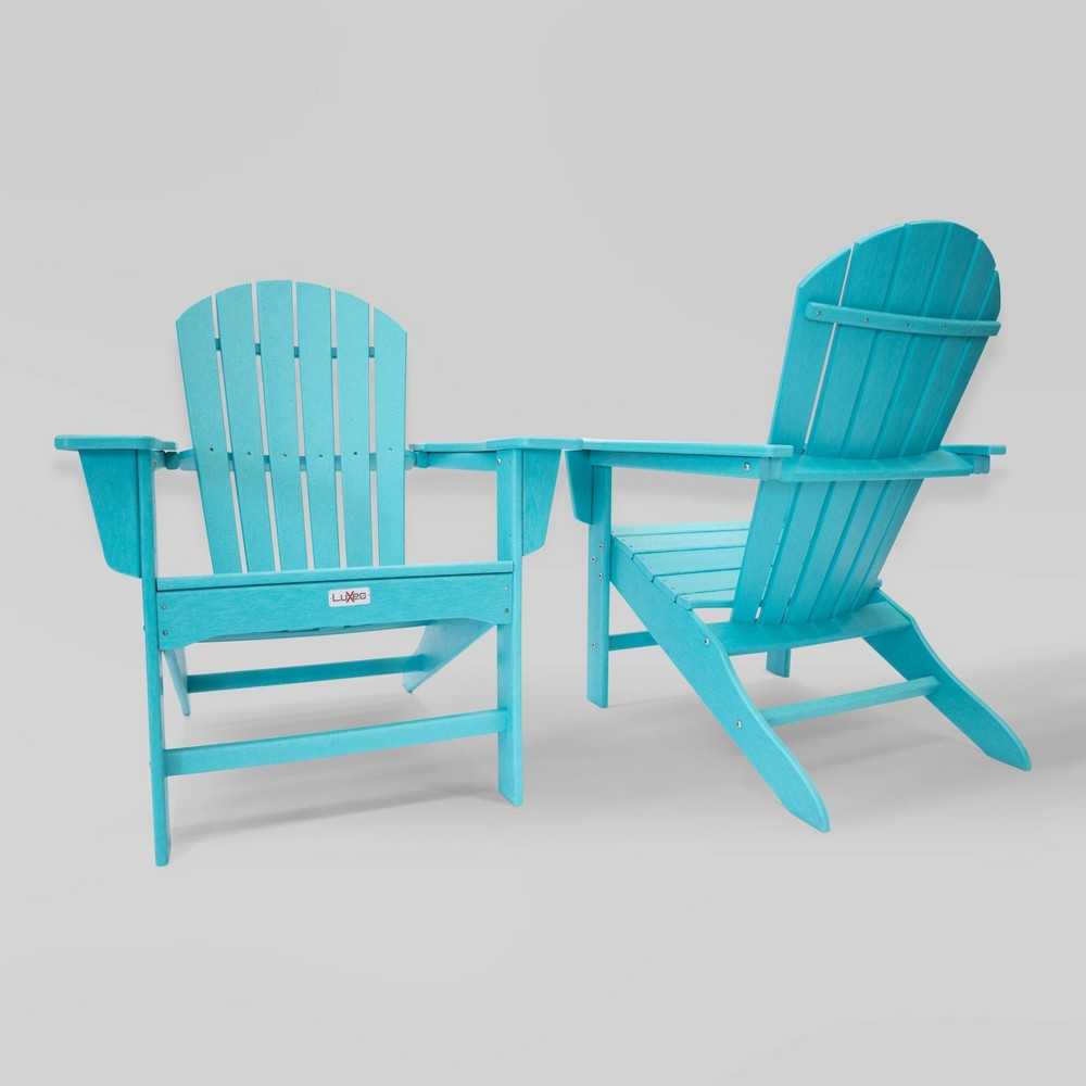Image of 2pk Hampton Aruba Patio Adirondack Chair Blue - LuXeo