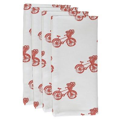 Orange Smoothie Bicycles! Geometric Print Napkin Set (19 X19 )- E By Design