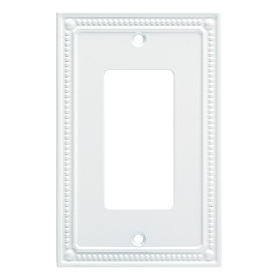 Franklin Brass Classic Beaded Single Decorator Wall Plate White
