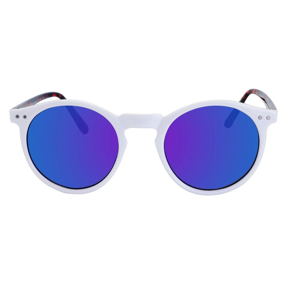 Women's Round Sunglasses with Blue Flash Lens - White