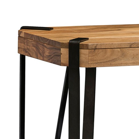 Alaterre Furniture Ryegate Natural Brown Live Edge Solid Wood A Console Table Metal And Target