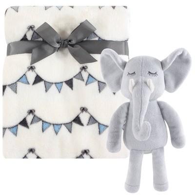 Hudson Baby Unisex Baby Plush Blanket with Toy - Modern Elephant