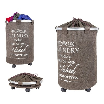 dbest products Swivel Clothes Hamper Laundry Organizer Trolley Dolly Utility Cart with Removable Washable Liner, Brown