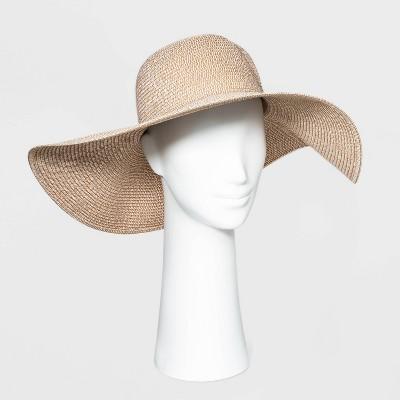 Women's Wide Brim Straw Floppy Hat - A New Day™ Tan
