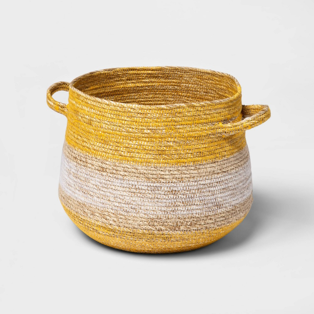 """Image of """"10"""""""" x 9"""""""" Striped Tapered Basket with Zig Zag Stitching Yellow/Natural - Threshold"""""""