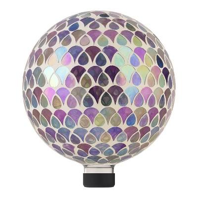 "Alpine 11"" Colorful Teardrop Glass Gazing Globe with Mosaic Flower Design"
