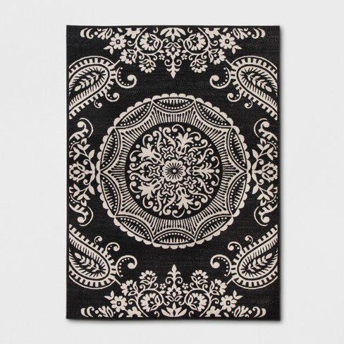 6' X 9' Medallion Outdoor Rug Charcoal - Opalhouse™ - image 1 of 4