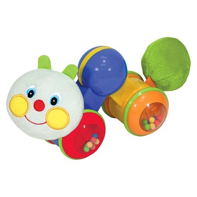 Melissa & Doug® K's Kids Press and Go Inchworm Baby Toy - Rattles, Clicks, and Self Propels