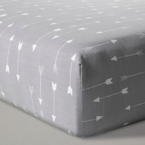 Fitted Crib Sheet Arrows - Cloud Island™ Gray - image 1 of 2