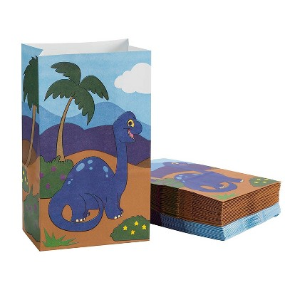 36-Pack Dino Goodie Bags - Dinosaur Party Gift Bags for Kids, Dino Birthday Party Supplies, Small Paper Favor Bags, 5.1 x 8.7 x 3.2 inches