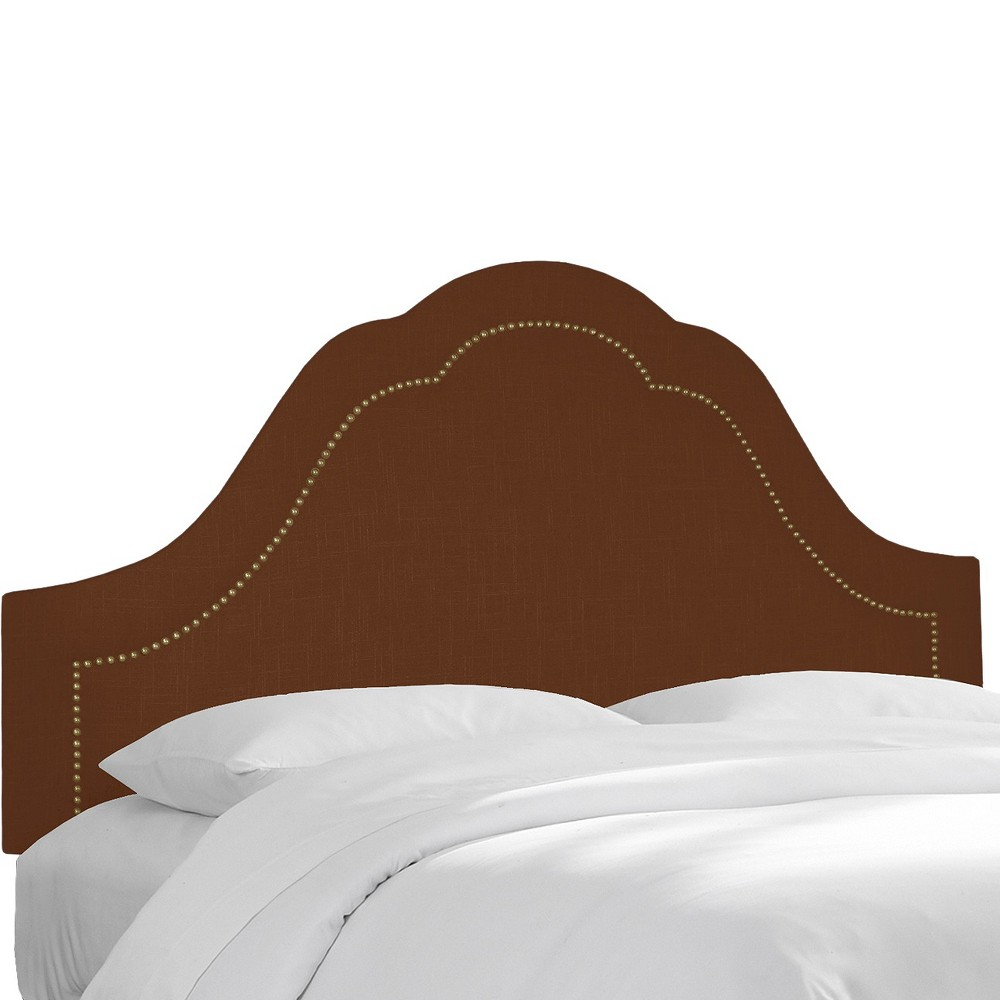 Skyline Custom Upholstered Arch Inset Nail Button Headboard - King - Skyline Furniture, Linen Chocolate