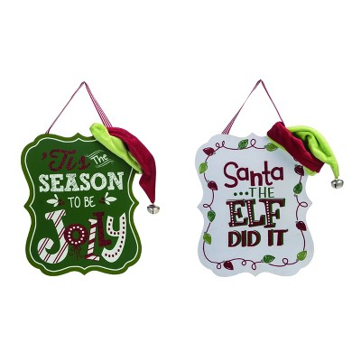 Transpac Wood 12 in. Multicolor Christmas Elf Hat Hanging Wall Decor Set of 2