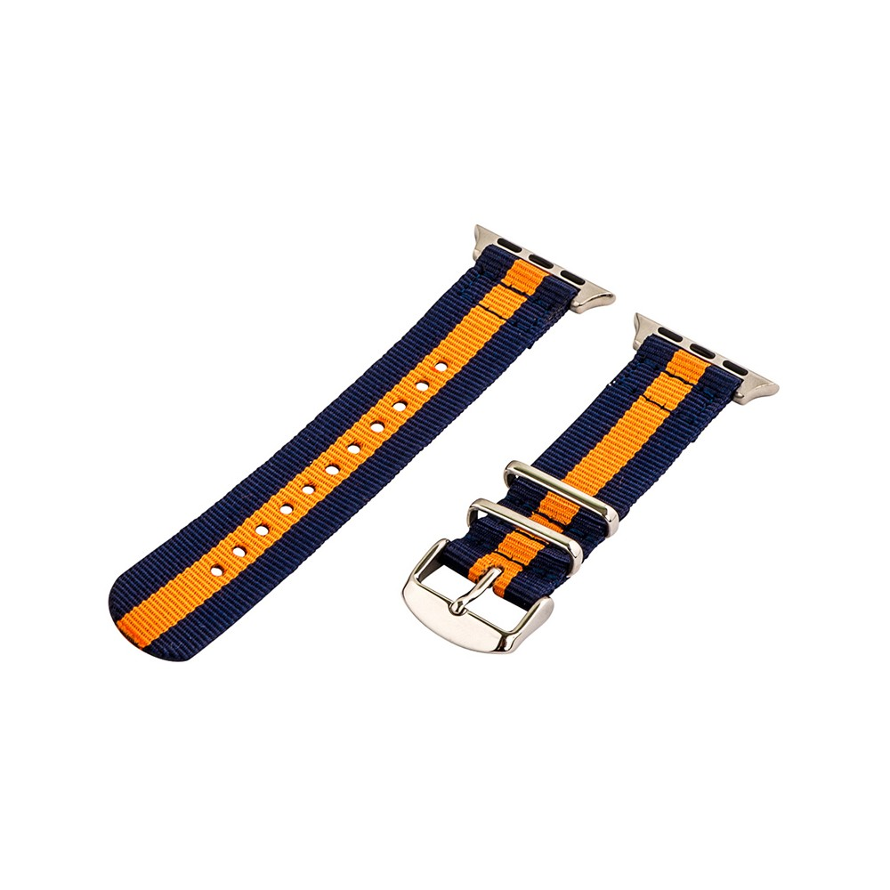 Clockwork Synergy Classic Nato 2 Apple Watch Band 42mm with Steel Adapter - Navy Blue/Orange, Adult Unisex, Multi-Colored