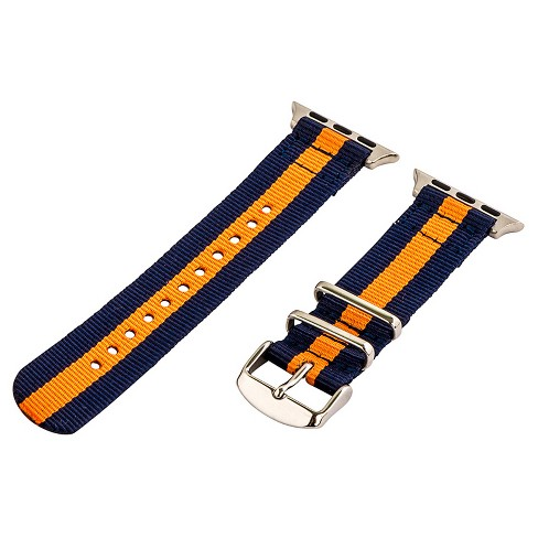 Clockwork Synergy Classic Nato 2 Apple Watch Band 42mm with Steel Adapter - Navy Blue/Orange - image 1 of 1