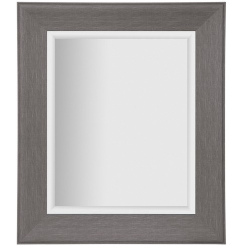 16 x20 woodgrain framed beveled accent wall mirror gray gallery