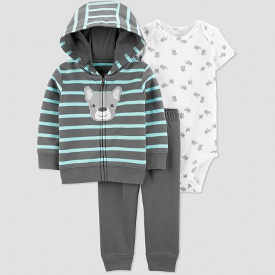Baby Boys' 3pc Striped Short Sleeve Cotton Cardigan Set - Just One You® made by carter's Gray/White Newborn