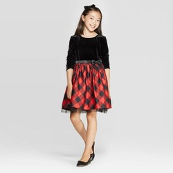 Girls' Long Sleeve Velour Dress - Cat & Jack™ Black/Red