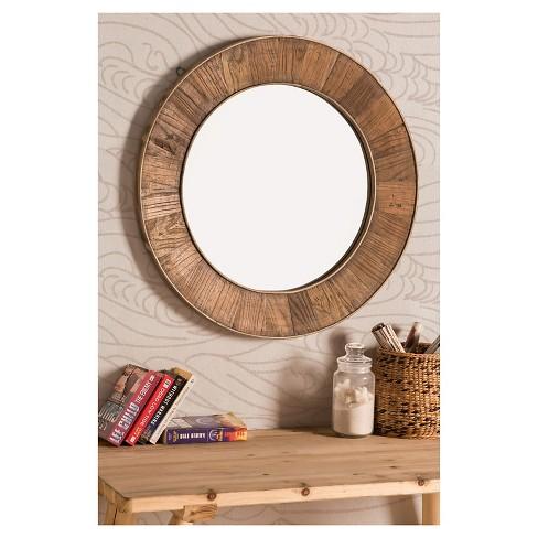 Recycled Fir Wood Wide Border Round Mirror Brown Sunjoy