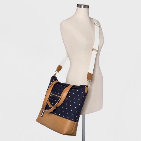 Polka Dot Canvas Tote Handbag - A New Day™ White Navy   Target ffa4f6274d8c4