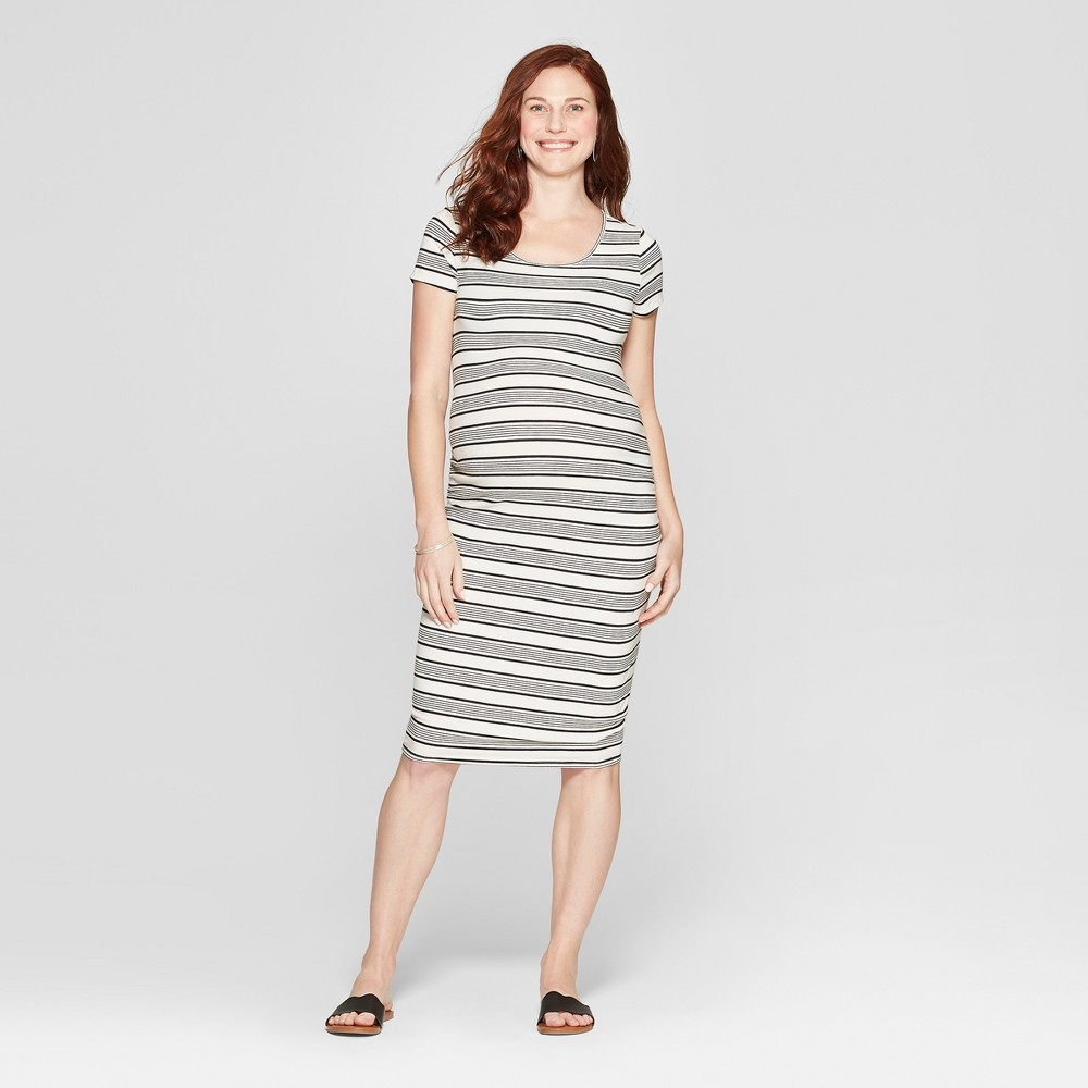 Maternity Striped Short Sleeve Shirred T-Shirt Dress - Isabel Maternity by Ingrid & Isabel Sour Cream M, Women's, White