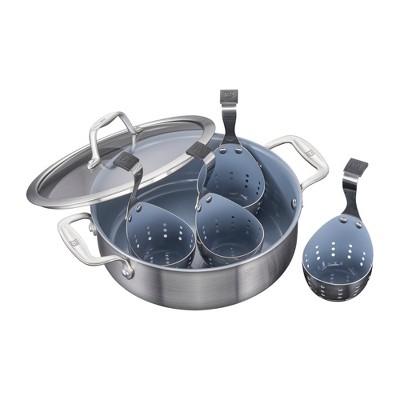 ZWILLING Spirit 3-ply 6-pc Stainless Steel Ceramic Nonstick Breakfast Pan & Egg Poacher Set