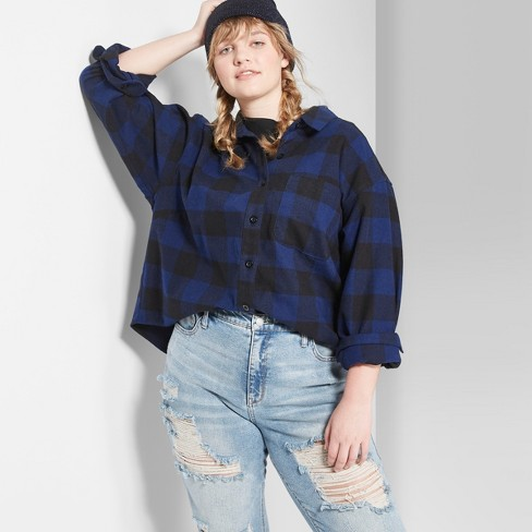 3be6637b83c50 Women s Plus Size Plaid Long Sleeve Cropped Button-Down Shirt - Wild Fable™  Navy