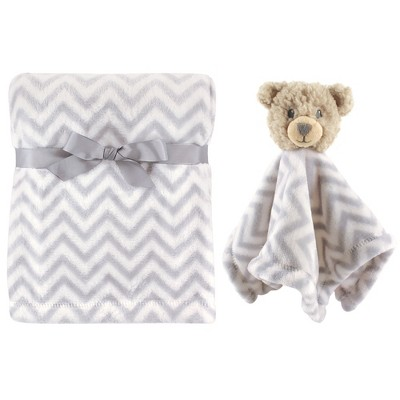 Hudson Baby Infant Plush Blanket with Security Blanket, Bear, One Size
