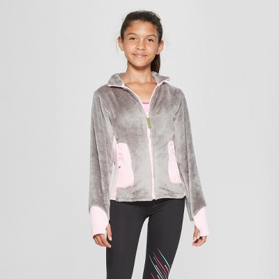 5acf3d30162d Girls  Long Sleeve Fleece Jacket - C9 Champion® Gray