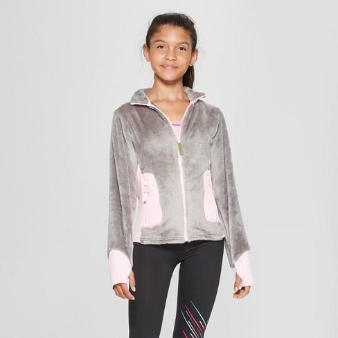 7a44a15b4748 Girls  Long Sleeve Fleece Jacket - C9 Champion® Gray   Target