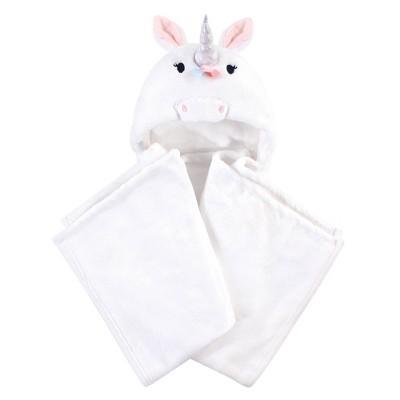 Hudson Baby Unisex Baby and Toddler Hooded Animal Face Plush Blanket - Rainbow Unicorn One Size