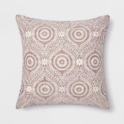 Embroidered Medallion Throw Pillow Purple - Threshold™