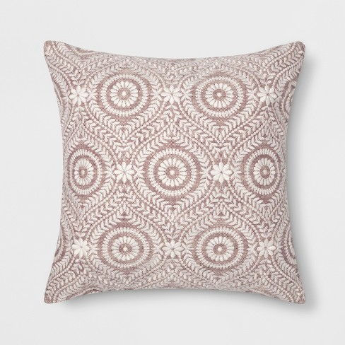 Embroidered Medallion Throw Pillow Purple - Threshold™ - image 1 of 2