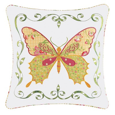 """C&F Home 18"""" x 18"""" Pink Butterfly Applique Pillow"""