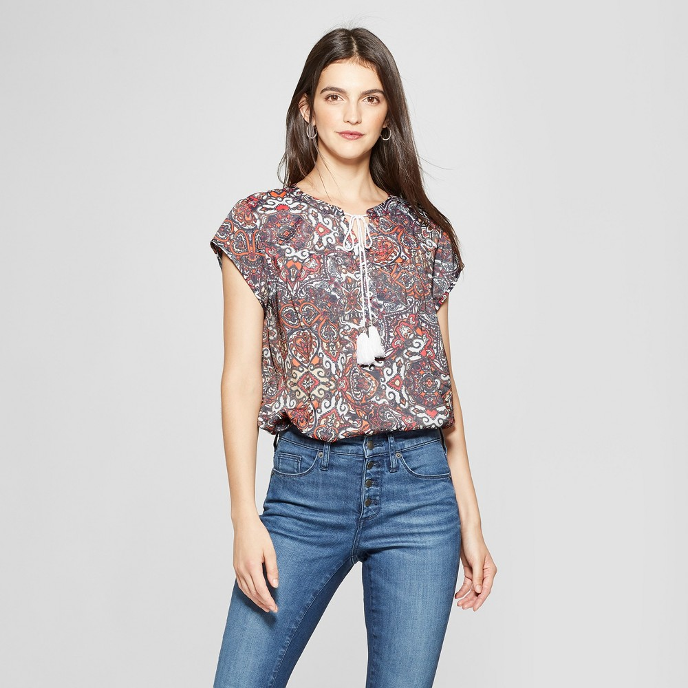 Image of Women's Paisley Print Short Sleeve Tassel Blouse - Notations - Pink XS, MultiColored