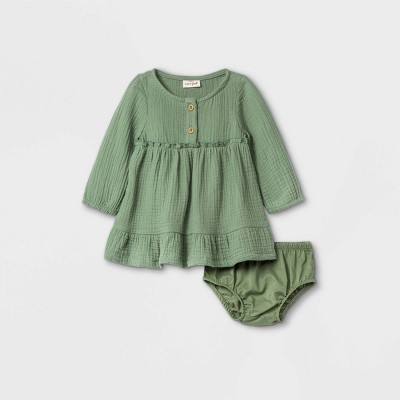 Baby Girls' Gauze Dress - Cat & Jack™ Olive Green