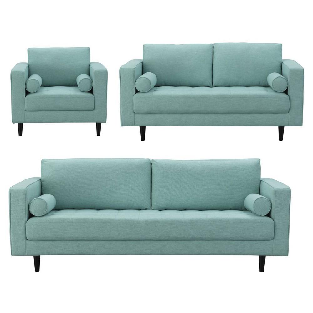 3pc Arthur Tweed Sofa Loveseat and Armchair Set Mint Green - Manhattan Comfort