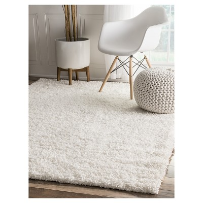 'White Solid Loomed Area Rug - (5'3''x8') - nuLOOM, Size: 5' 3'' x 7' 6'''
