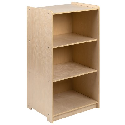 """Flash Furniture Wooden 3 Section School Classroom Storage Cabinet for Commercial or Home Use - Safe, Kid Friendly Design - 36""""H (Natural)"""